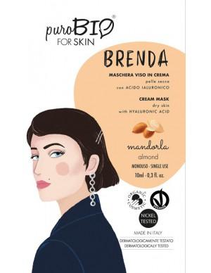 PuroBio - Maschera viso Brenda - In crema per Pelle Secca con Acido Ialuronico - Mandorla
