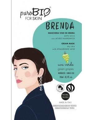 PuroBio - Maschera viso Brenda - In crema per Pelle Secca con Acido Ialuronico - Uva Verde