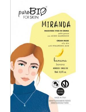 PuroBio - Maschera viso Miranda - In crema per Pelle Grassa con Acido Ialuronico - Banana