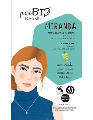 PuroBio - Maschera viso Miranda - In crema per Pelle Grassa con Acido Ialuronico - Uva Verde