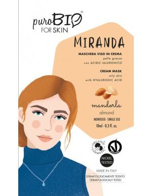 PuroBio - Maschera viso Miranda - In crema per Pelle Grassa con Acido Ialuronico - Mandorla