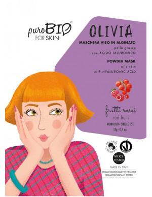 PuroBio - Maschera Viso Olivia Peel-Off - Per Pelle Grassa con Acido Ialuronico - Frutti Rossi