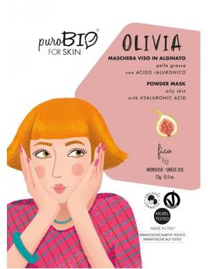 PuroBio - Maschera Viso Olivia Peel-Off - Per Pelle Grassa con Acido Ialuronico - Fico