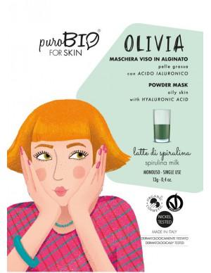 PuroBio - Maschera Viso Olivia Peel-Off - Per Pelle Grassa con Acido Ialuronico - Latte di Spirulina