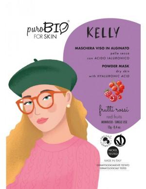 PuroBio - Maschera Viso Kelly Peel-Off - In Alginato per Pelle Secca con Acido Ialuronico - Frutti Rossi