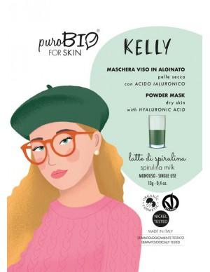 PuroBio - Maschera Viso Kelly Peel-Off - In Alginato per Pelle Secca con Acido Ialuronico - Latte di Spirulina